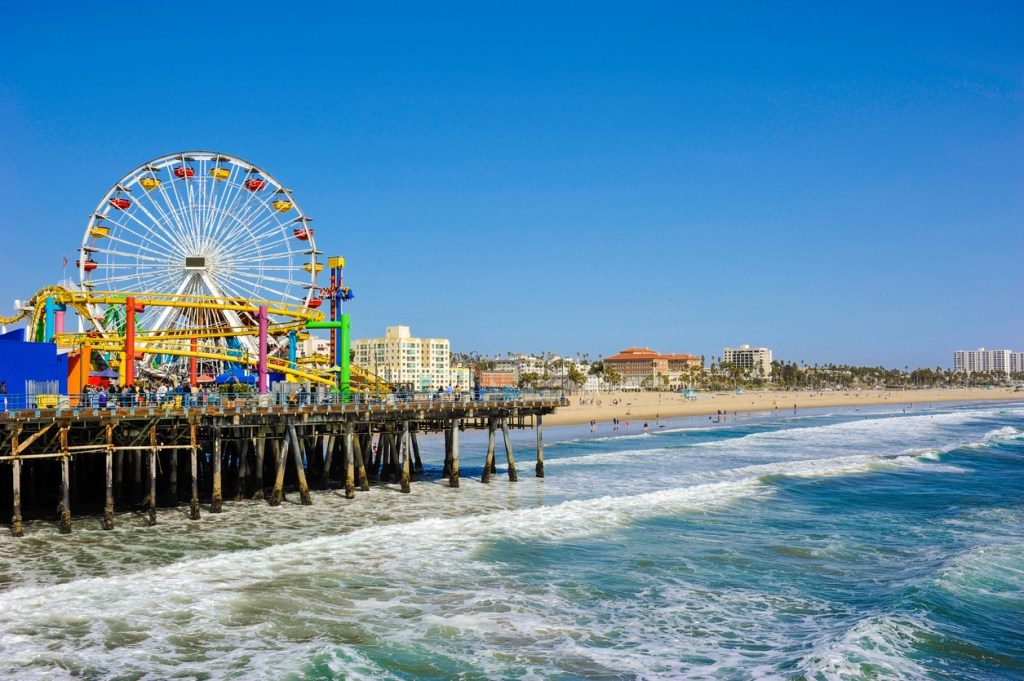 Santa Monica Pier on a sunny day in spring