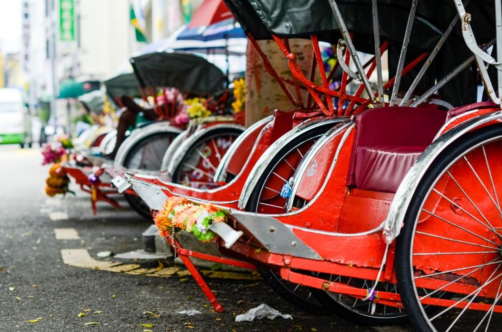 Pahang, Malaysia. Vintage Trishaw stop