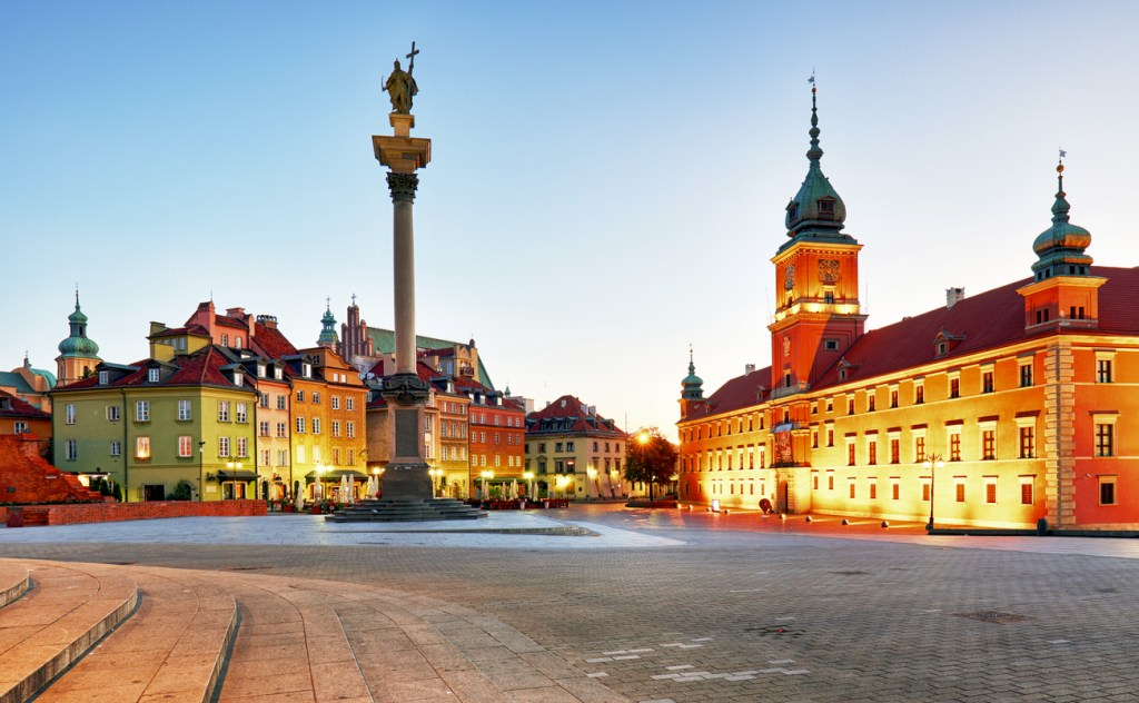 Warsaw, Old town square at night, Poland