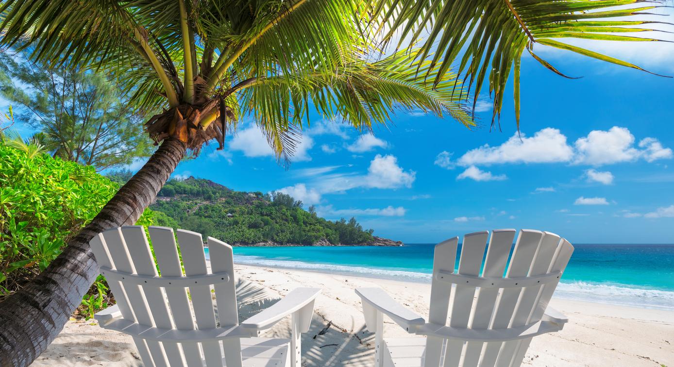 Jamiaca beach chairs on the beach