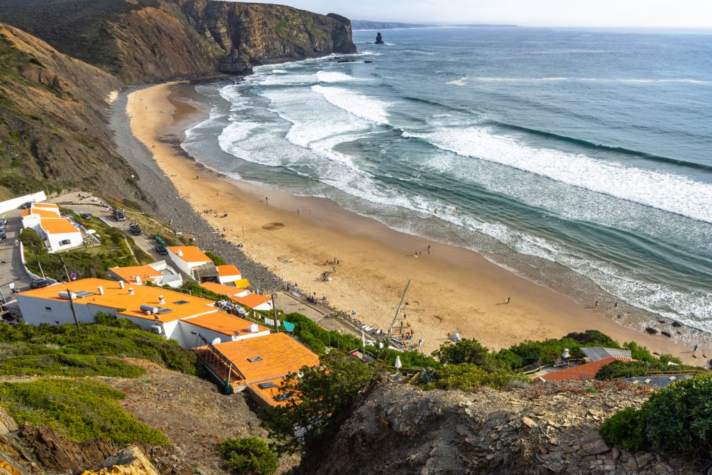 Arrifana beach one of the best surfer beach of Costa Vicentina, Algarve