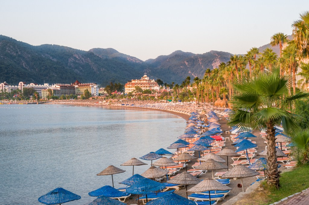 View over the beach coast of Marmaris in Turkey