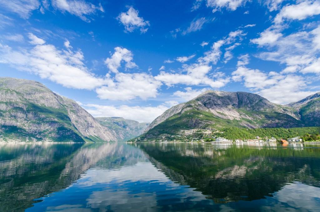 The town of Eidfjord in Hardangfjord, Norway.