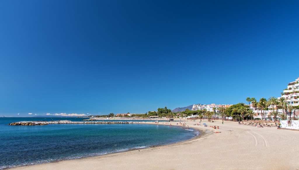 Marbella beach and breakwater