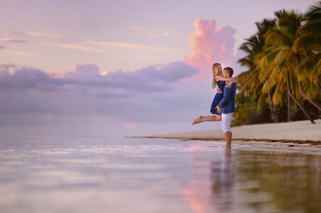 Beautiful romantic couple in Mauritius