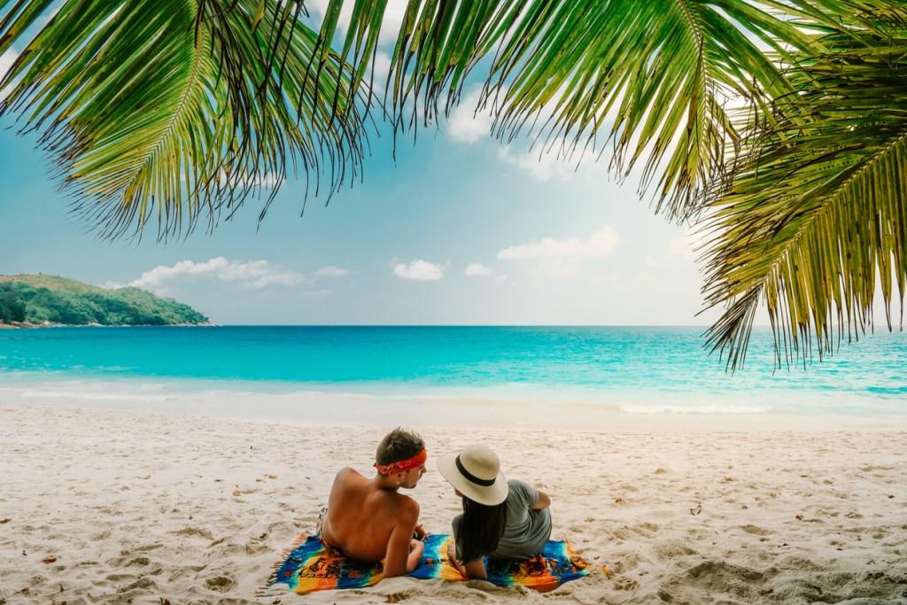 Tropical White Beach in the Seychelles