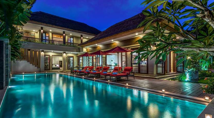 The-Residence,-Seminyak---Villa-Nilaya---Villa-lights-at-night