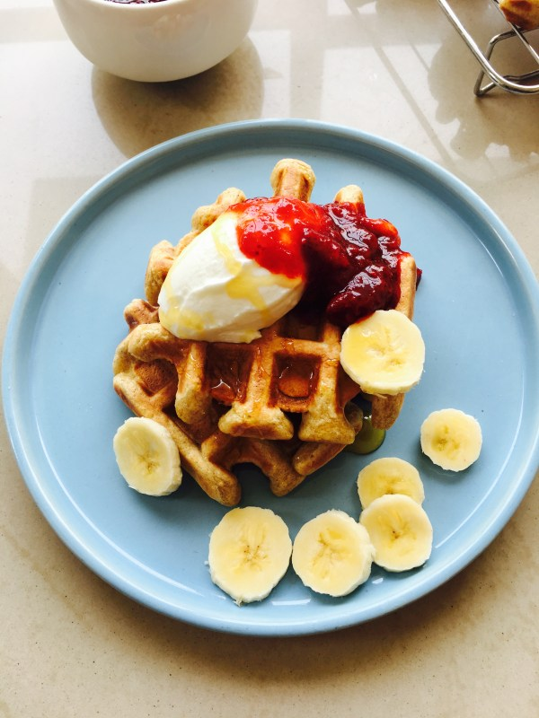 Oatmeal Waffles with Strawberry Compote