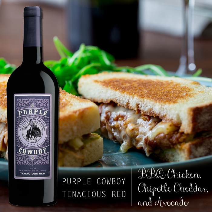 BBQ Shredded Chicken with Chipotle Cheddar and Mashed Avocado & Purple Cowboy Tenacious Red