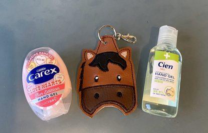 Brown horse hand sanitiser holder