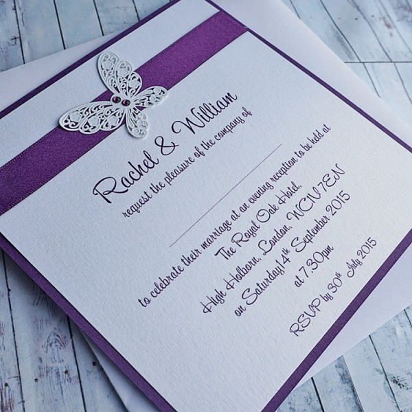Handmade Wedding Invitations Flat Evening Invites Harris