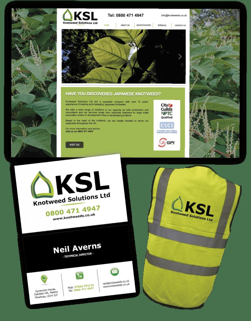 KSL Branding, website, business card and workwear
