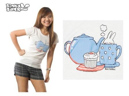 Binky Burrow - Bunny in a teacup shirt