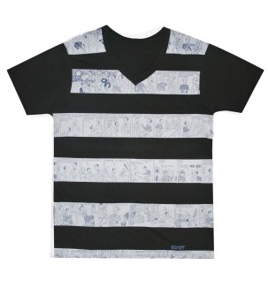 Solo Kenkoy - His&Hers black striped graphic tees P695 mens