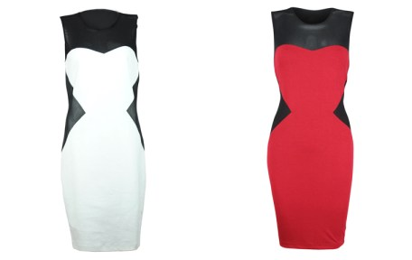 Ensembles - Color Blocking Dress with Mesh Red white 1795