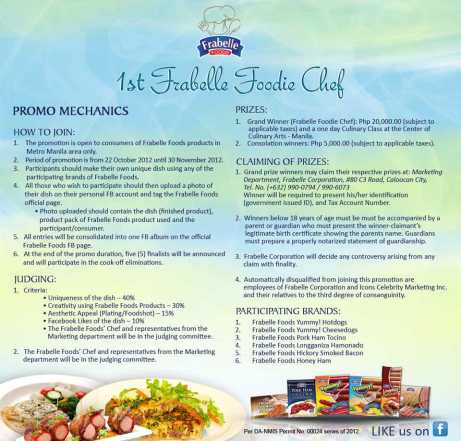 Frabelle Foods - Foodie Chef Promo Mechanics