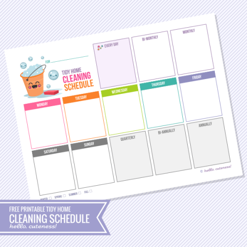 Hello Cuteness Cleaning Schedule - Free Printable