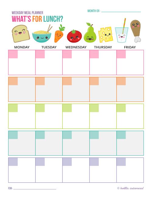 Lunch Plan Weekday - Free Printable