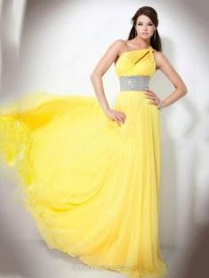 A-line Chiffon One Shoulder Sequins Sweep Train Formal Dresses