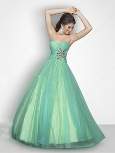 Ball Gown Tulle Sweetheart Rhinestone Floor-length Formal Dresses