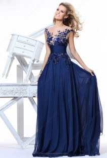 Empire Chiffon Tulle Scoop Neck Beading Sweep Train Formal Dresses