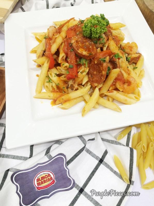 Almon Marina Gamberi and Chorizo Pasta