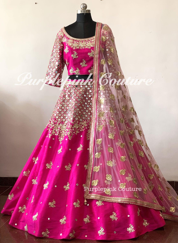 Magenta Pink Raw Silk Complete Hand Mirror Embroidered Lehenga Choli Pink Net Dupatta