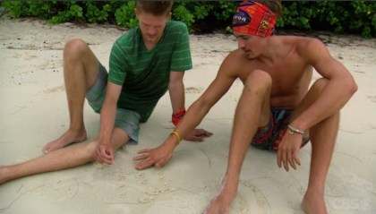 Cambodia- Spencer and Joe draw on the sand