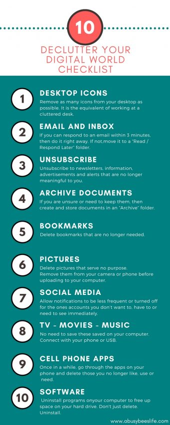 10 ways to declutter your digital world checklist abbl pin