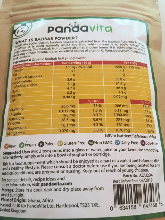 Baobab Powder Nutrients