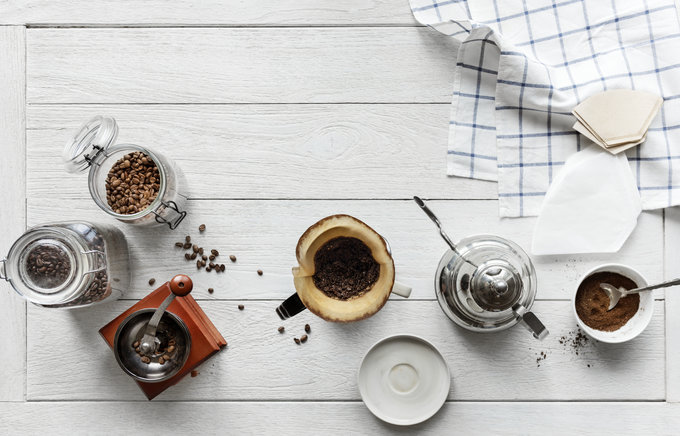 coffee beans, coffee beans in jar, coffee cups, spoons, mocha, abusybeeslife, start your day with coffee