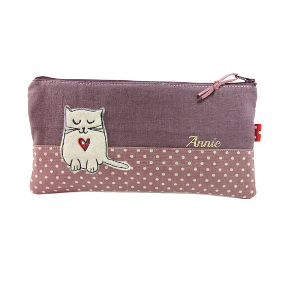 Personalised Cute Cat Pencil Case