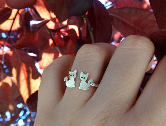 Silver cat ring, Sterling silver ring, Cat ring, Tiny cat ring, Fantasy ring, Adjustable ring, Women ring, Cat gift, Cat lovers, Valentine