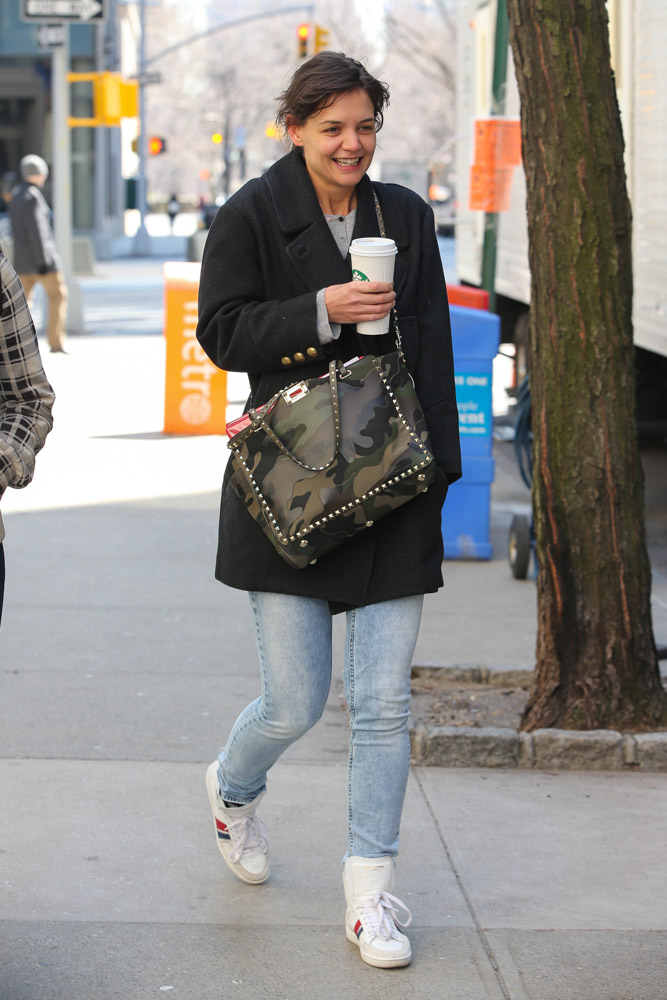 Katie Holmes Carries Camo Valentino On The Set Of Her New