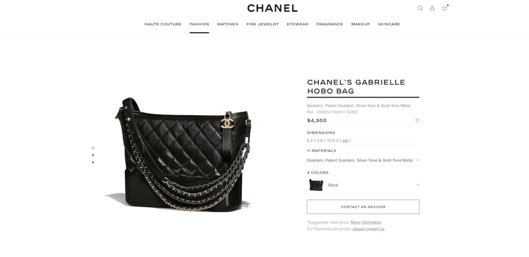Pricing on June 29, 2018 at chanel.com