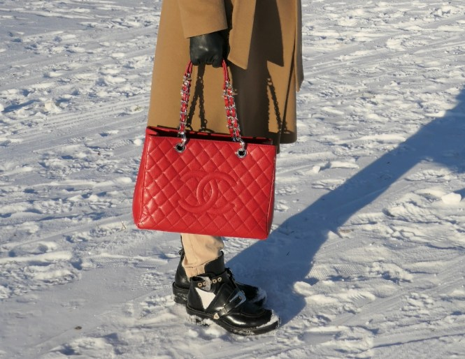 Red can camel outfit, red Chanel GST tote bag, Ralph Lauren camel coat, Balenciaga cutout boots