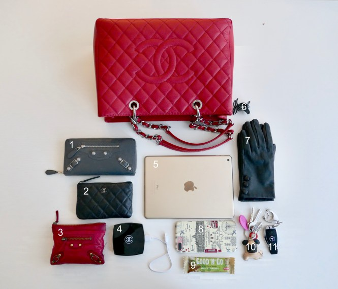 What's in my 2012 red caviar Chanel GST with silver hardware: Balenciaga wallet, Balenciaga coin purse, Chanel small O case, Chanel portable phone charger, iPad, iPhone 7 Plus, oat bar, pug house keys, car keys, leather gloves, hair clip