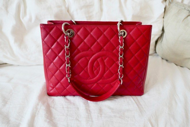 2012 red caviar Chanel GST with silver hardware
