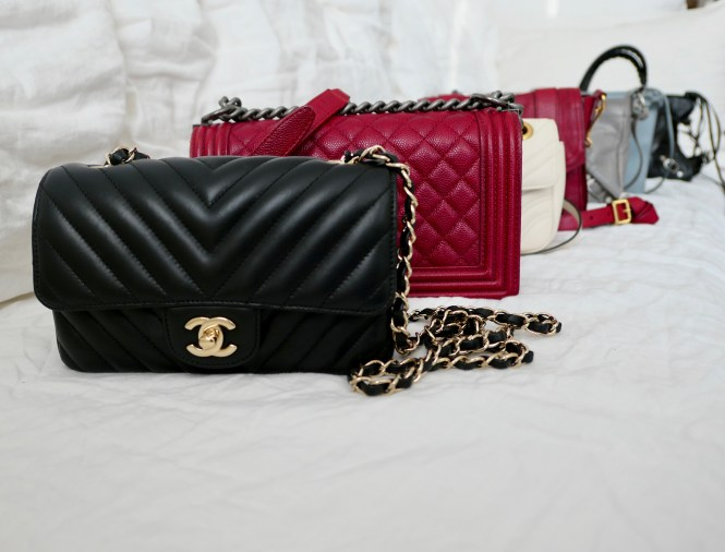 Designer crossbody bags: Chanel black chevron rectangular mini, Chanel red caviar old medium Boy, Gucci mini marmot ivory white, Proenza Schouler PS1 Pouch in crimson red, Balenciaga Hip in Gris Pyrite with giant silver hardware, Balenciaga structured crossbodybag in blue grey, Balenciaga small city in black with silver classic hardware