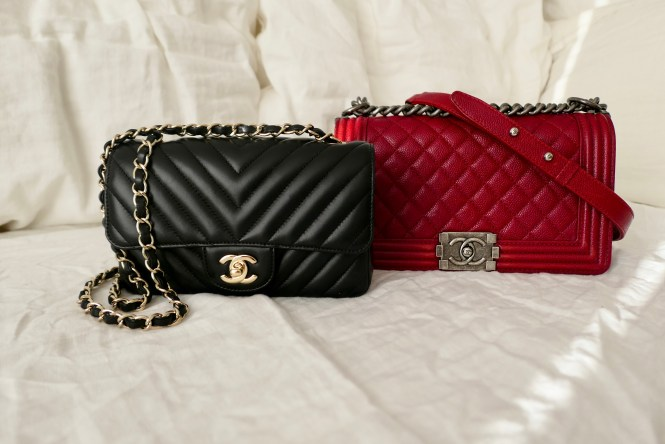 Chanel black chevron rectangular mini and Chanel dark red caviar old medium Boy