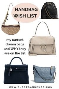 Handbag wish list, my current dream bags and WHY they are on the list. Chanel, Balenciaga, Chloe, Hermes.