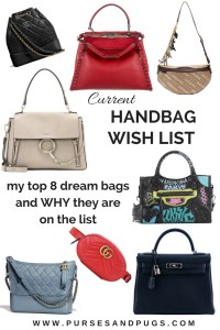 Current handbag wish list, my top 8 dream bags and WHY they are on the list. Chanel, Balenciaga, Fendi, Gucci, Chloe, Hermes.