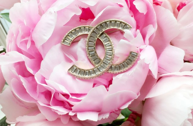 chanel crystal brooch, how to style a chanel brooch, chanel brooch and pink peonies