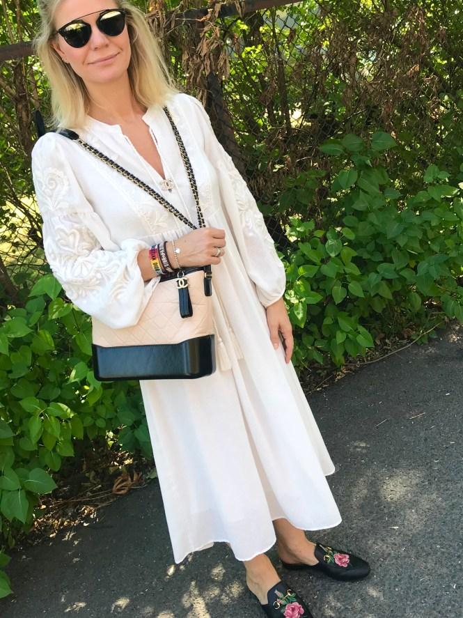 Flowy white midi dress and Chanel Gabrielle