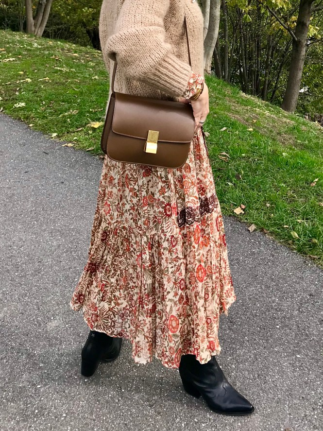 Chunky knit over a maxi dress with Celine Box bag.