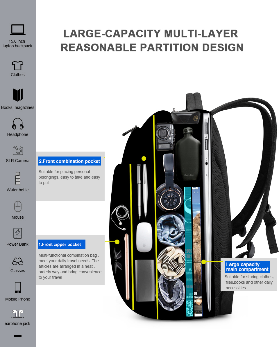 Fashion Anti Theft Laptop Backpacks Waterproof Casual Travel Bags