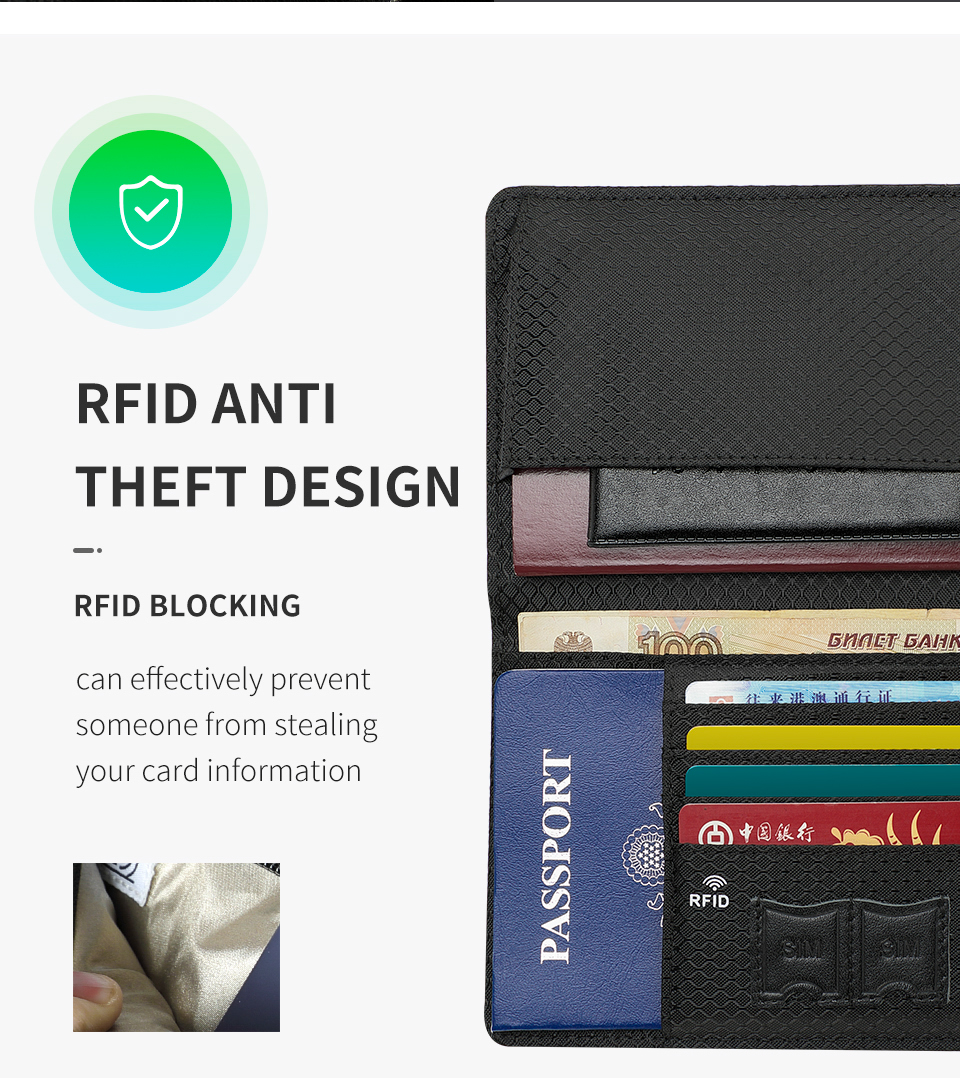 Fashion Business Passport Cover RFID Anti theft Protection Card ID Holder Wallets