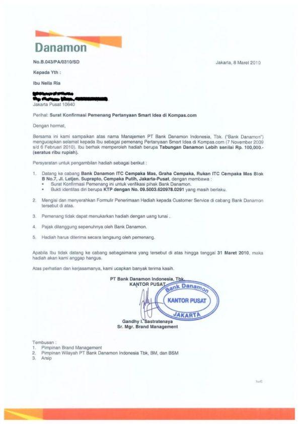 Surat Pemenang dari Bank Danamon. Hobi Ikut Kuis Ngarep Hadiahnya