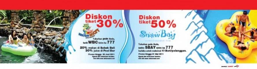 Diskon 50% dan 30% di Waterboom dan SnowBay