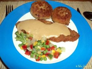 Schnitzel, Perkedel mit gemüse